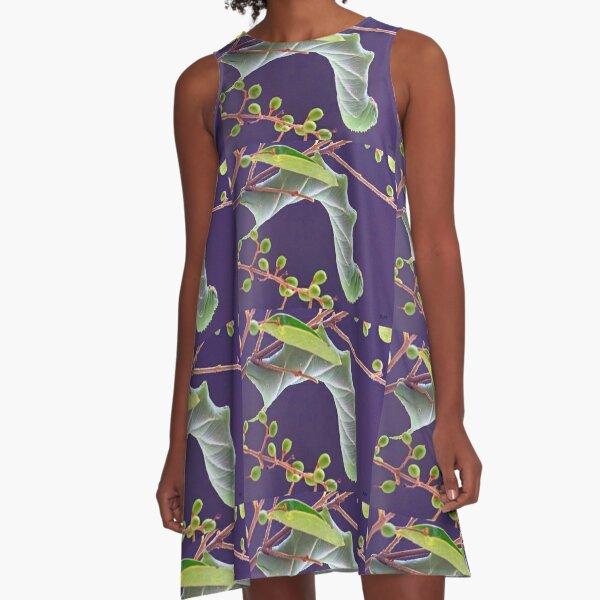 """""""Sphinx Moth Caterpillar"""" A-Line Dress"""
