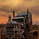 Prime Mover Kenworth truck at Sunset by JuliaKHarwood