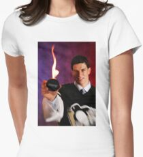 Sidney Crosby Holding A Puck On Fire Womens Fitted T-Shirt