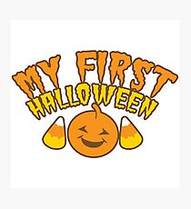 My First Halloween! with pumpkin Photographic Print