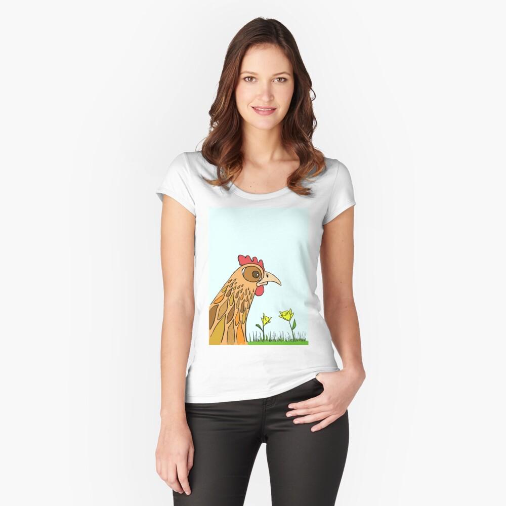 Cute Chicken in Garden Fitted Scoop T-Shirt