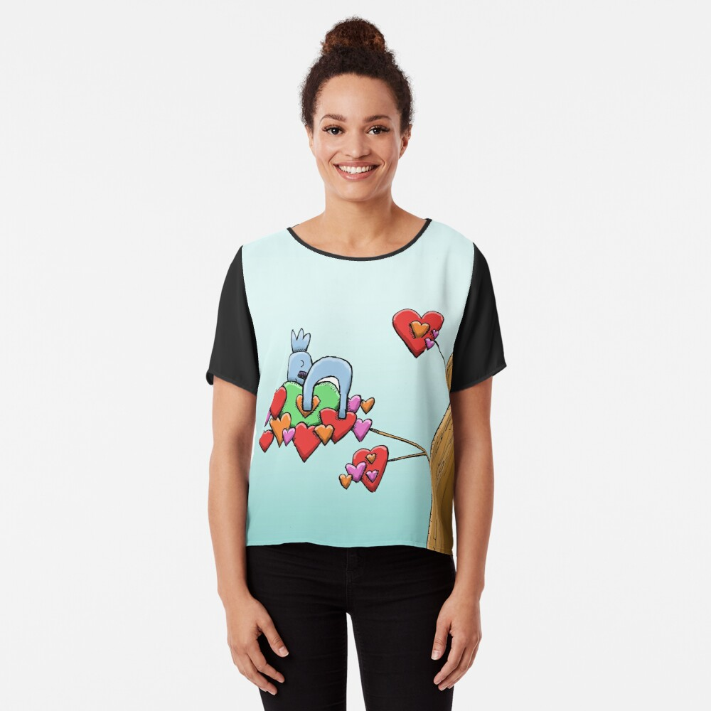 Cute Koala Sleeping on Hearts Chiffon Top