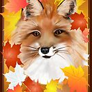 FACE in FALL-Fox view of bright leaves by Lotacats