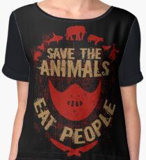 save the animals, EAT PEOPLE Women's Chiffon Top