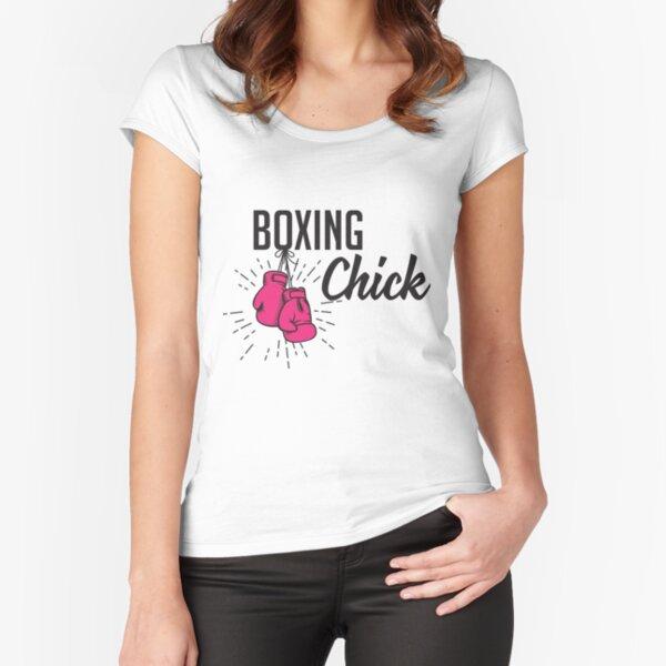 Polluelo del boxeo Camiseta entallada de cuello ancho