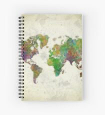 World Map Color Spiral Notebook