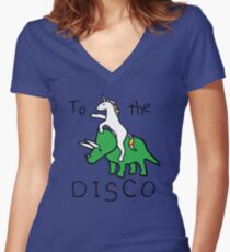 Camiseta entallada de cuello en V To The Disco (Unicorn Riding Triceratops)