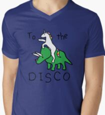 To The Disco (Unicorn Riding Triceratops) Men's V-Neck T-Shirt