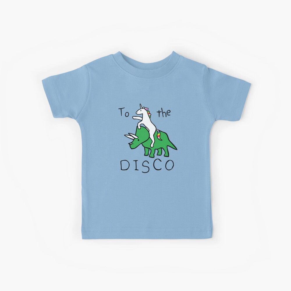 To The Disco (Unicorn Riding Triceratops) Kids T-Shirt