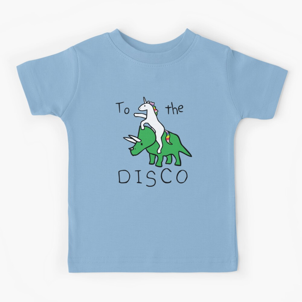 To The Disco (Unicorn Riding Triceratops) Kids T-Shirt