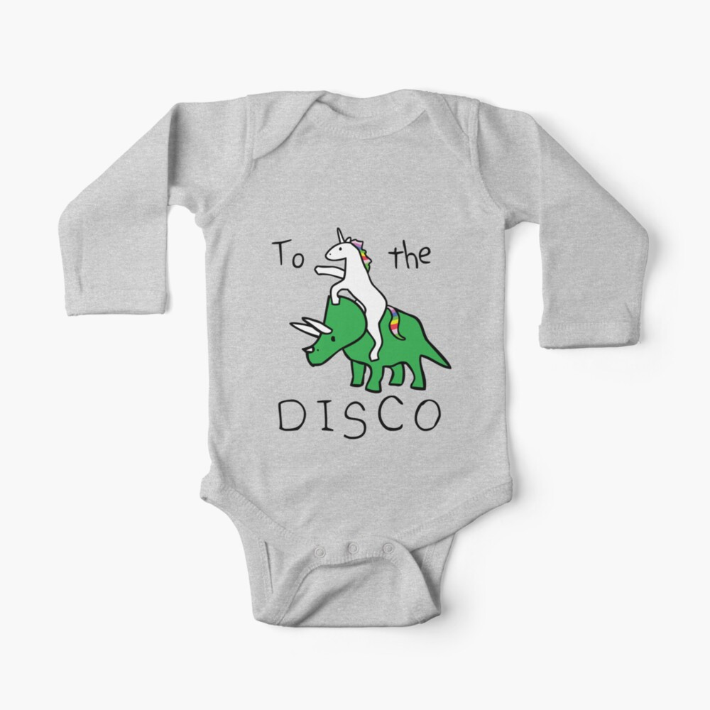 To The Disco (Unicorn Riding Triceratops) Baby One-Piece
