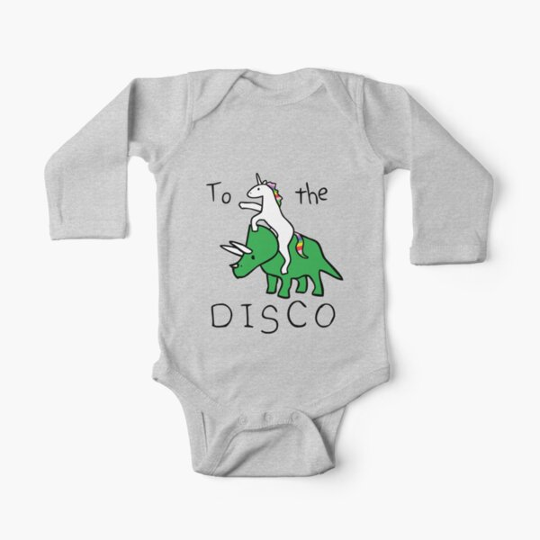 To The Disco (Unicorn Riding Triceratops) Long Sleeve Baby One-Piece