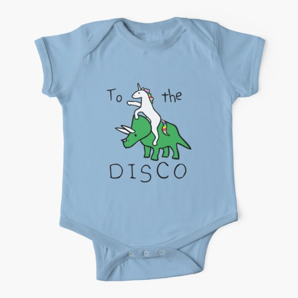 To The Disco (Unicorn Riding Triceratops) Short Sleeve Baby One-Piece