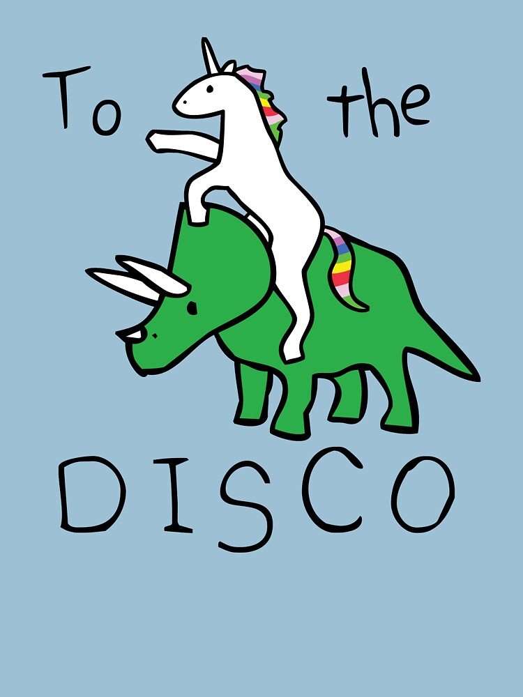 TShirtGifter presents: To The Disco (Unicorn Riding Triceratops) | Unisex T-Shirt