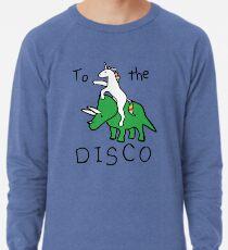 Zur Disco (Unicorn Riding Triceratops) Leichtes Sweatshirt