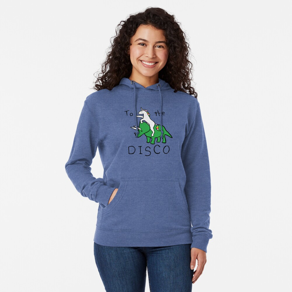 To The Disco (Unicorn Riding Triceratops) Lightweight Hoodie