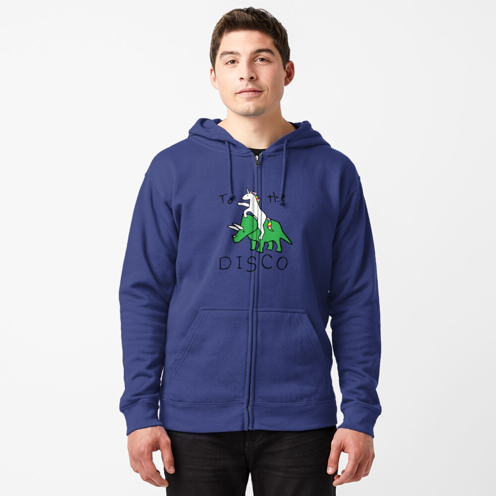To The Disco (Unicorn Riding Triceratops) Zipped Hoodie