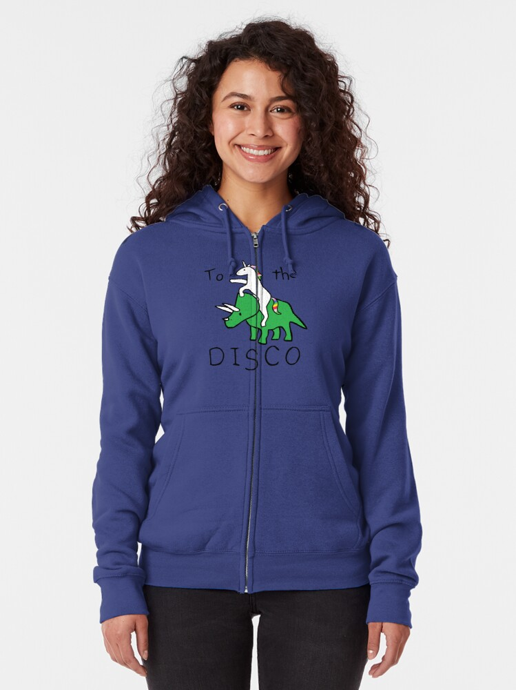 Alternate view of To The Disco (Unicorn Riding Triceratops) Zipped Hoodie