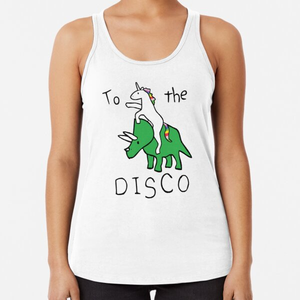 To The Disco (Unicorn Riding Triceratops) Racerback Tank Top
