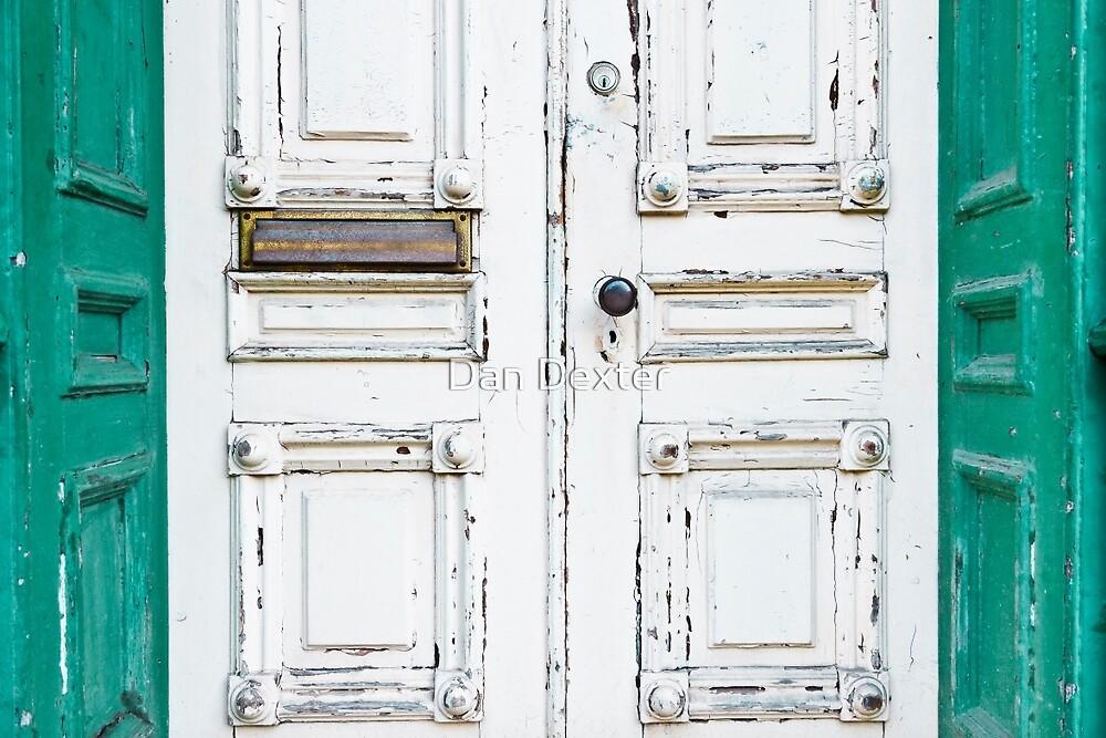 Green White Door Rustic Door by Dan Dexter