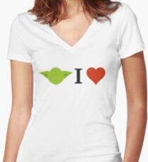 Yoda I Love Women's Fitted V-Neck T-Shirt