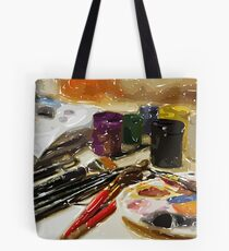 brush and paints Tote Bag