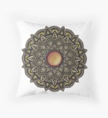 Golden Gemstone Mandala Throw Pillow