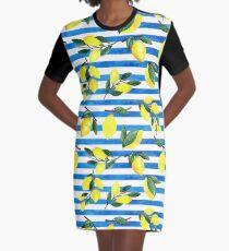 Aquarell Zitronen auf gestreiftem Hintergrund T-Shirt Kleid