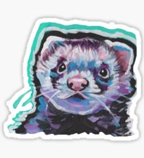 Fun Ferret Pet bright colorful Pop Art Sticker