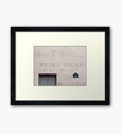 Sign on a Paris wall Framed Print