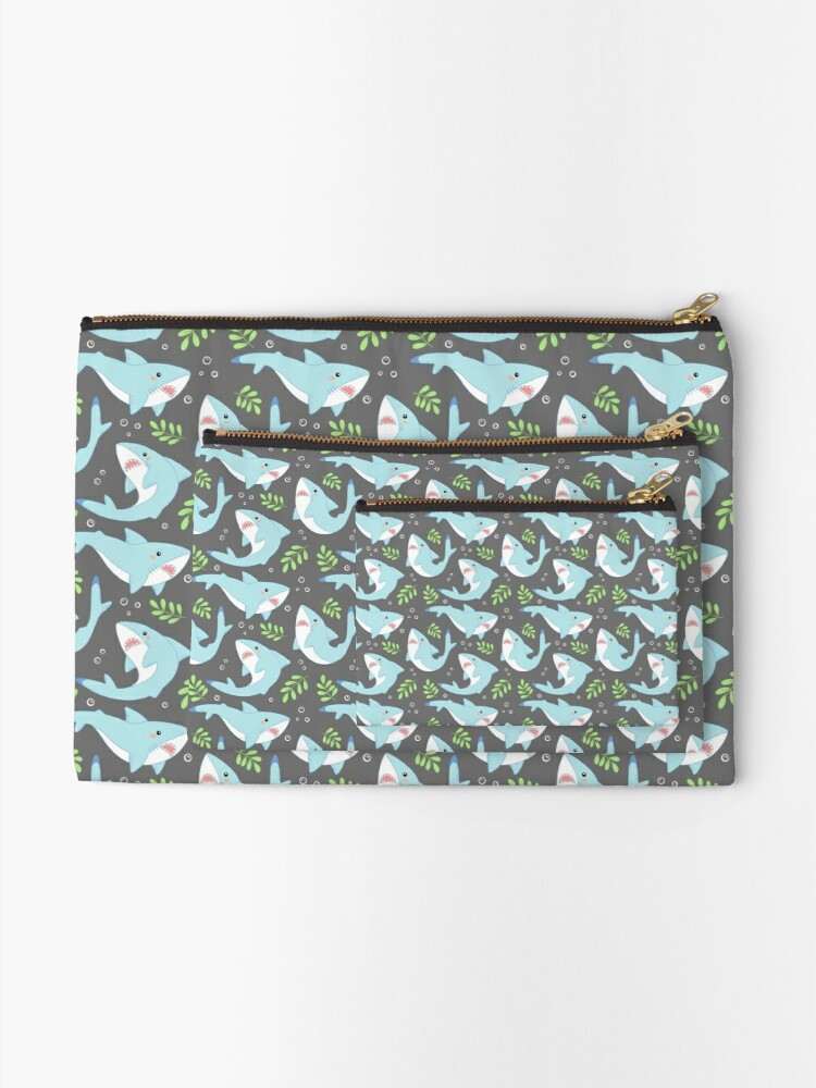 Alternate view of doofy shark pattern- natural Zipper Pouch