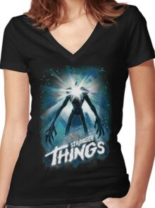 Stranger Things The Thing Mashup Women's Fitted V-Neck T-Shirt