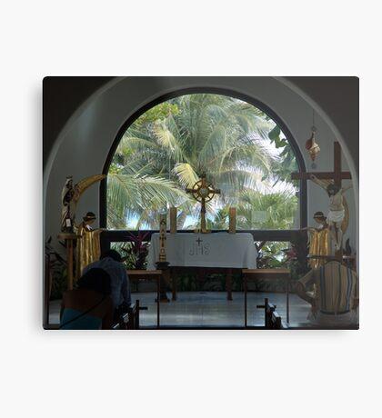Altar amid Palms Metal Print
