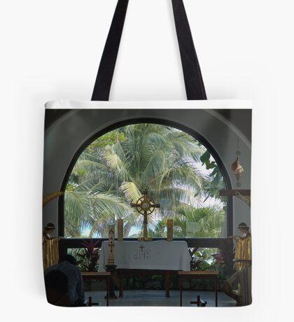 Altar amid Palms Tote Bag