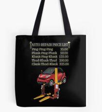 ☝ ☞ $ AUTO CAR REPAIR PRICE LIST THROW PILLOW $☝ ☞ Tote Bag