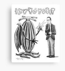 HP Lovecraft and Elder Thing Metal Print