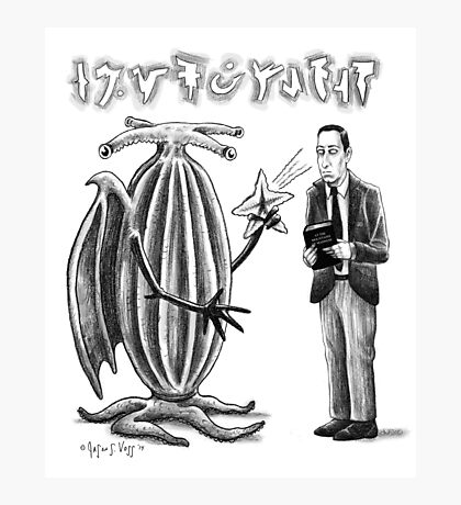 HP Lovecraft and Elder Thing Photographic Print