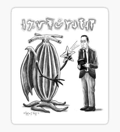 HP Lovecraft and Elder Thing Sticker