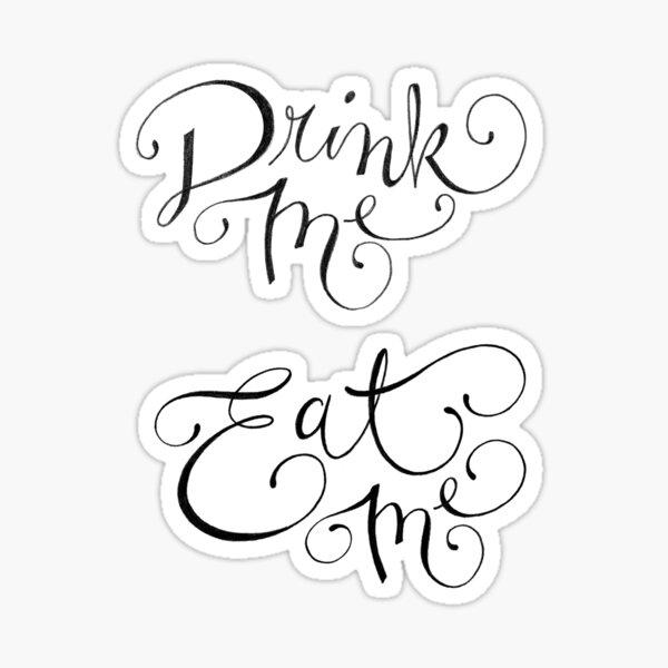 Drink Me, Eat Me Typography on Chalkboard Pegatina