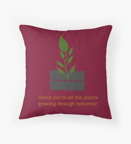 Plants Through Concrete Throw Pillow