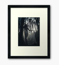 Beautiful nude woman with sheer shawl walking through forest in dreamy sunlight glow art photo print Framed Print