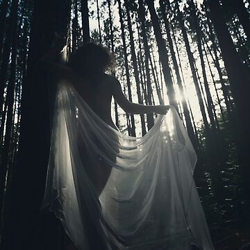 Beautiful nude woman with sheer shawl walking through forest in dreamy sunlight glow art photo print by AwenArtPrints