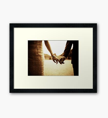 Bride and groom holding hands in sepia - analog 35mm black and white film photo Framed Print