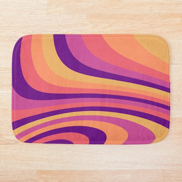 Warm Sunset Abstract Liquid Melt Wave Design Bath Mat