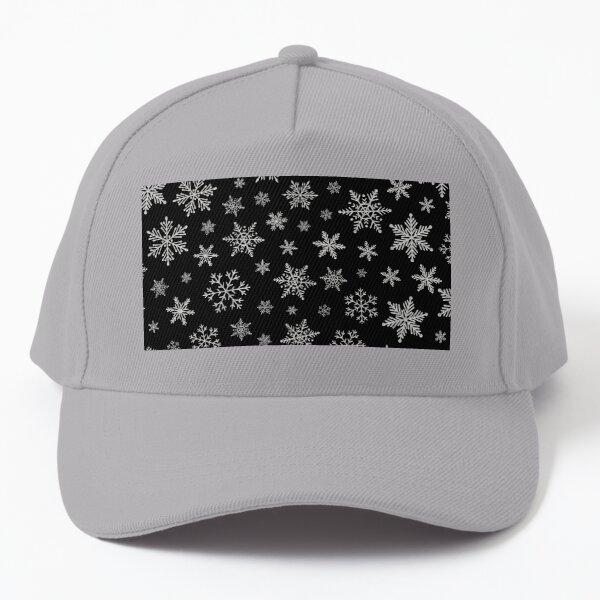 Modern Snowflake 2 -Black & Silver Grey- Baseball Cap