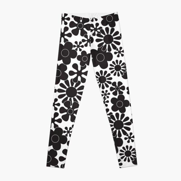 Retro Hippie Flowers Black and White Pattern Leggings