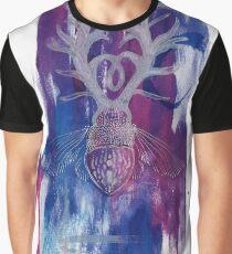 Colourful Silver Dotwork Antler Beetle Inksplash Illustration Graphic T-Shirt