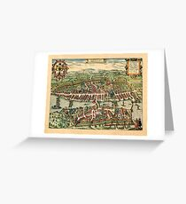 Map Of Zurich 1581 Greeting Card