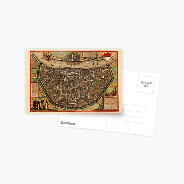 Map Of Cologne 1572 Postcard