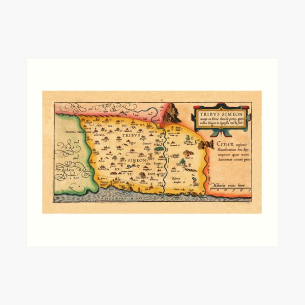 Map Of The Holy Land 1628 Art Print